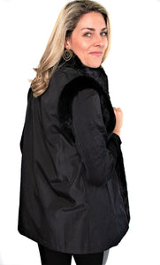 Black Sheared Mink Vest Reversible to Black Taffeta