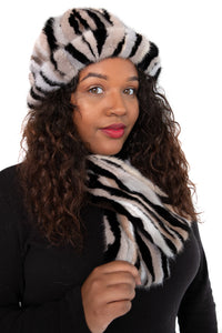 Dyed Black and Grey Section Mink Scarf