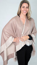 Load image into Gallery viewer, Beige and Ivory Poncho with Rhinestone Border and Fox Pom Poms