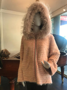 Front w/ hood - Dyed Pink Mink and Rex Hooded Jacket with zipper closure