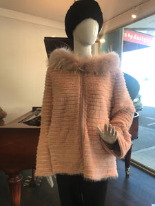 Front - Dyed Pink Mink and Rex Hooded Jacket with zipper closure