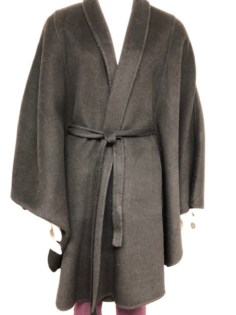 Cashmere & Wool Blend Cape w/Belt