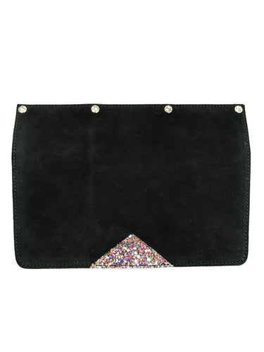 Interchangeable Flaps for Black Sweetchy Leather Handbag - Black/Glitter