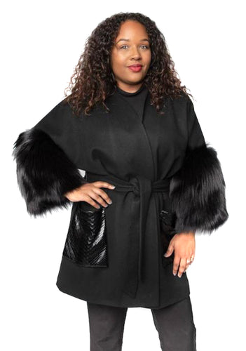 Black Cashmere & Wool Jacket with Fox Sleeves