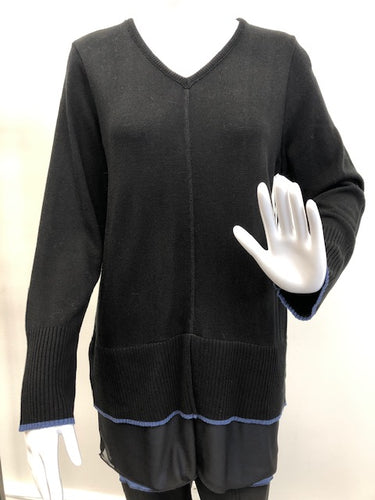 Black Tunic Sweater w/Color Trim