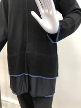 Load image into Gallery viewer, Black Tunic Sweater w/Color Trim