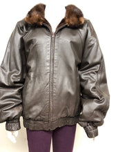 Load image into Gallery viewer, Reversible Mink/Leather Mahogany Bomber Jacket