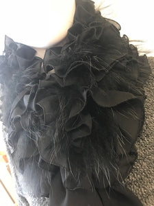 Black Ruffled Raccoon Bow Scarf