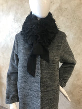 Load image into Gallery viewer, Black Ruffled Raccoon Bow Scarf