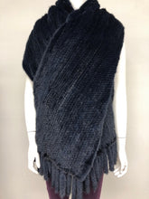Load image into Gallery viewer, Navy Knitted Mink Shawl