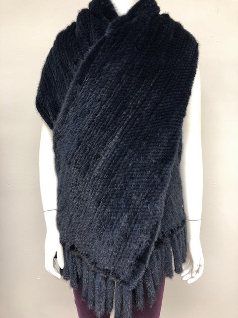 Navy Knitted Mink Shawl
