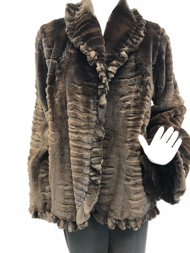 Front - Natural Color Velour Mink Laser Cut Jacket