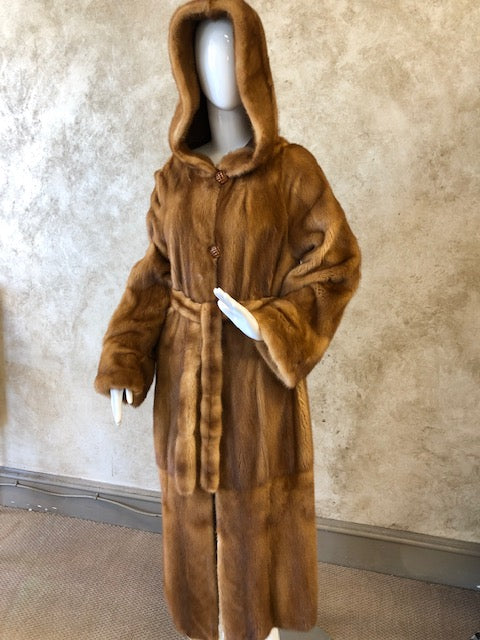 Golden Mink Reversible Coat w/Hood