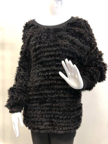 Black Sheared Beaver Sweater