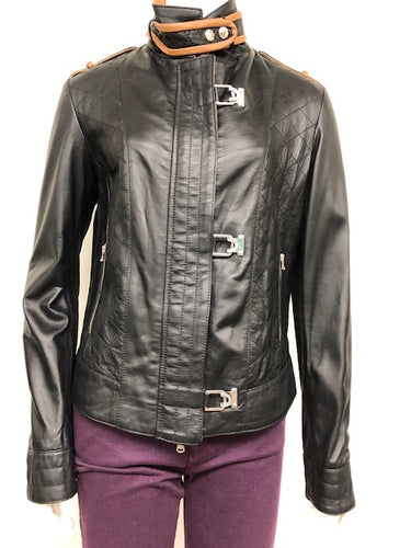 Soft Leather Jacket with Buckle-front Enclosure