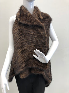 Front - Knitted Mink Vest in Demi-Buff