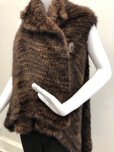 Side - Knitted Mink Vest in Demi-Buff