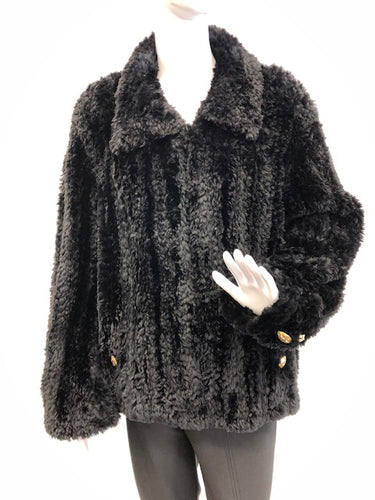 Black Paula-Knit Sheared Beaver Jacket