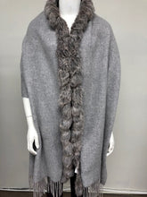 Load image into Gallery viewer, Cashmere/Rabbit Trimmed Stole w/Fringe