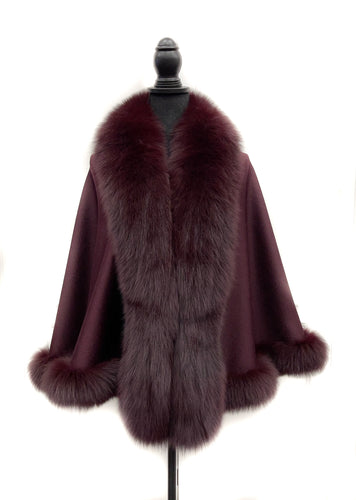Cranberry Wool Cape w/ Fox