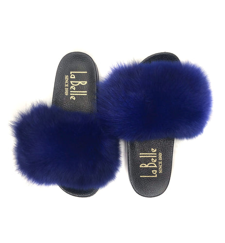 Royal Blue Fox Slippers