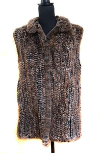 Brown Knitted Rex Rabbit Vest