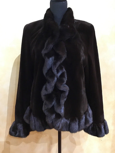 Front - Dyed Brown Sheared Mink Jacket with Mahogany Ruffle