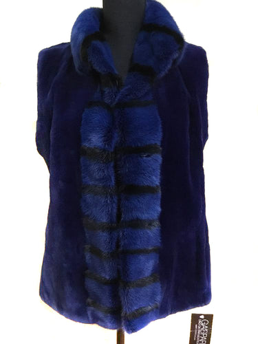 Blue Sheared Mink Vest with Long Hair Trim