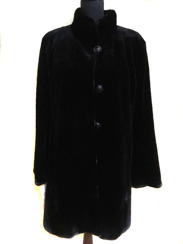 Dyed Black Sheared Mink Reversible Jacket w/ Long Hair Cuff and Collar