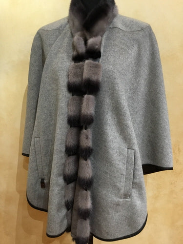 Front - Double Face Taupe and Grey Cape