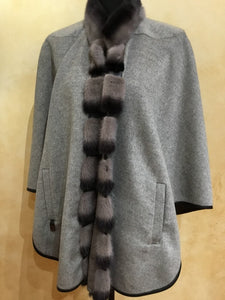 Double Face Taupe and Grey Cape