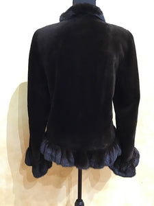 Back - Dyed Brown Sheared Mink Jacket with Mahogany Ruffle