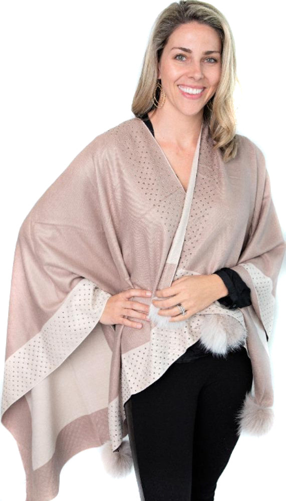 Beige and Ivory Poncho with Rhinestone Border and Fox Pom Poms