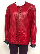 Load image into Gallery viewer, Red& Black Leather Grommet Jacket