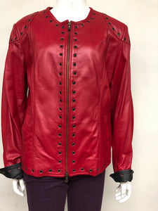 Red& Black Leather Grommet Jacket