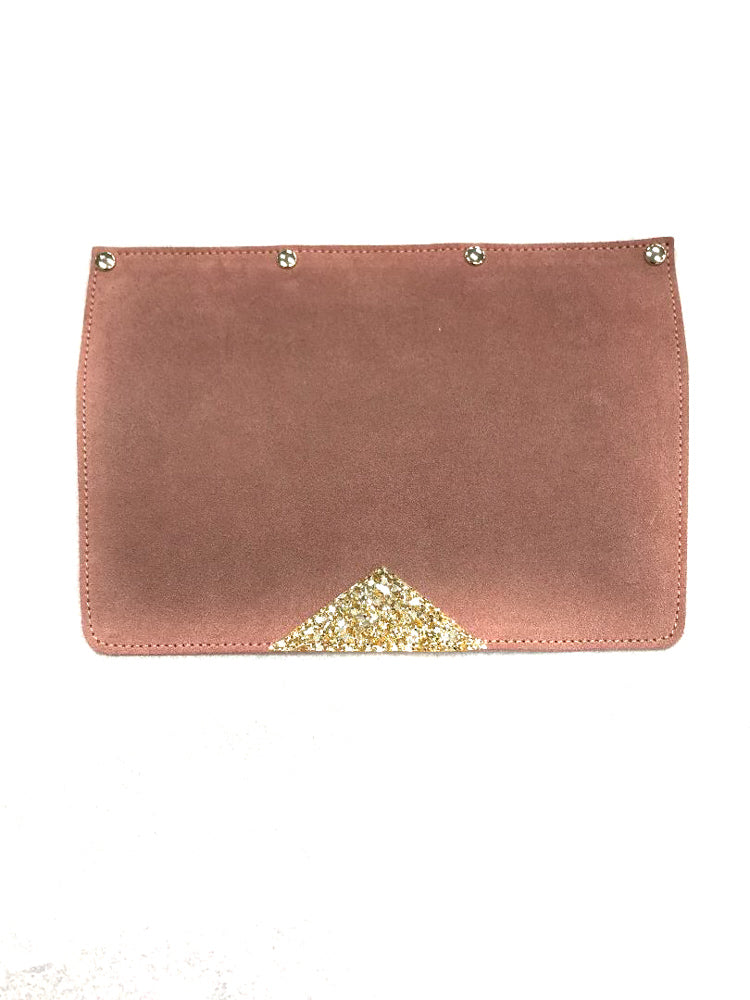 Interchangeable Flaps for Black Sweetchy Leather Handbag - Pink/Gold