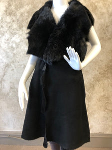 Long Black Shearling Vest