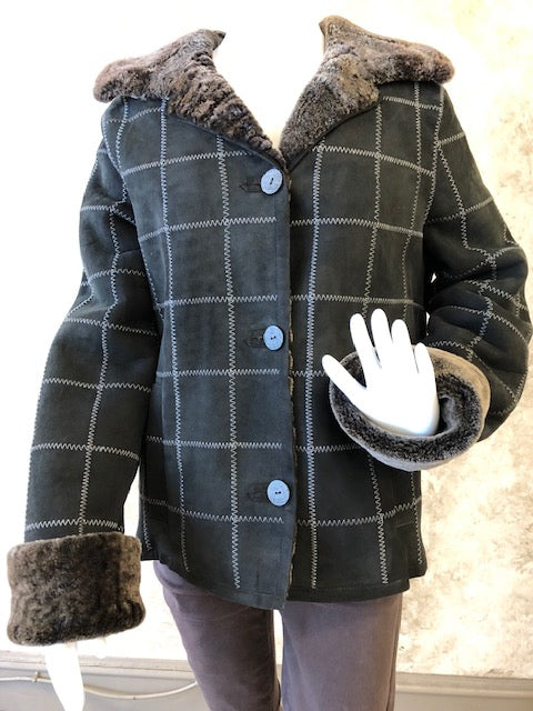 Black Plaid Shearling Jacket