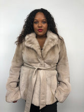 Load image into Gallery viewer, Front - Silver Rose Semi-Sheared Mink Jacket w/Leather Belt