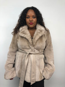 Front - Silver Rose Semi-Sheared Mink Jacket w/Leather Belt