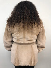 Load image into Gallery viewer, Back - Silver Rose Semi-Sheared Mink Jacket w/Leather Belt