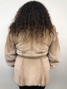 Silver Rose Semi-Sheared Mink Jacket w/Leather Belt