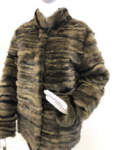 Load image into Gallery viewer, Khaki Dyed Mink Sectioned Jacket