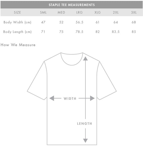 AS Colour Staple Tee - PARACOSMIC Size Chart