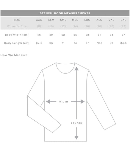 AS Colour Stencil Hoodie - PARACOSMIC Size Chart
