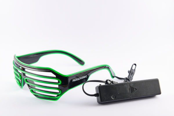 PARACOSMIC Light Up Shutter Shades - Green - PARACOSMIC