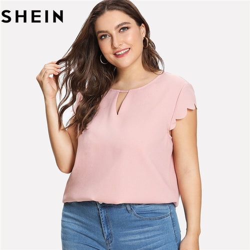 66b0df68c44 SHEIN Pink Scallop Trim Short Sleeve O-Neck Women Summer Blouses Plus Size  2018 New