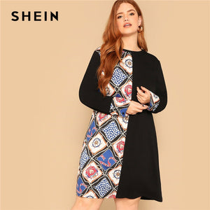 8f9ac1448f5 SHEIN Women Plus Size Scarf Print Buttoned Cuff Black Dress 2019 Ladies  Spring Knee-Length Long Sleeve Casual Dresses