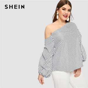 8ea2173beb9274 SHEIN Striped Sexy Asymmetric Neck Off Shoulder Lantern Sleeve Plus Size Blouse  Women Spring Summer Pinstripe Top Blouses
