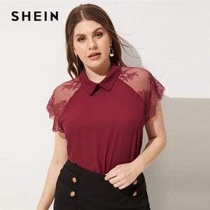 cd84f81dc3 SHEIN Burgundy Plus Size Contrast Lace Raglan Sleeve Button Sheer Collar  Plain Top Blouse 2019 Women Spring Top Blouse